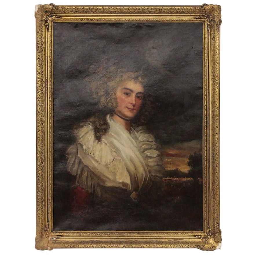 """Portrait Oil Painting After Joshua Reynolds """"Miss Catherine Angelo"""""""