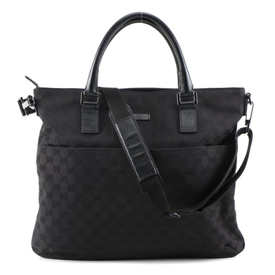 Gucci Black GG Canvas Convertible Tote with Leather Trim