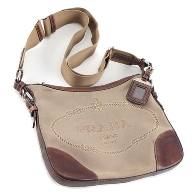 Prada Canapa Canvas Shoulder Bag with Mahogany Brown Leather Trim