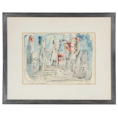 "Zvi Raphaeli Hand Colored Lithograph ""Cheder"""