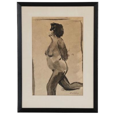 Ink Figure Study of Female Nude, Mid-20th Century