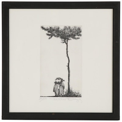 Charles Bragg Etching of Figure Under Tree