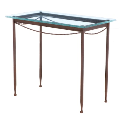 Iron and Glass Top Console Table, Late 20th Century