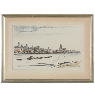 Karl Tomforde Hand Colored Lithograph of Frankfurt from the River Main