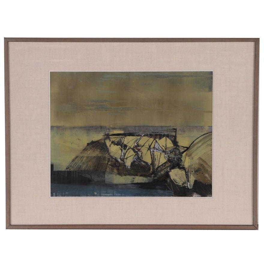 "Kurt Feuerherm Modern Abstract Mixed Media Oil Painting ""Charles Point"""