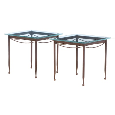 Glass Top Iron End Tables, Late 20th Century