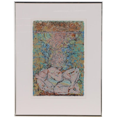 Shraga Weil Serigraph of Abstract Figure with Hebrew Script