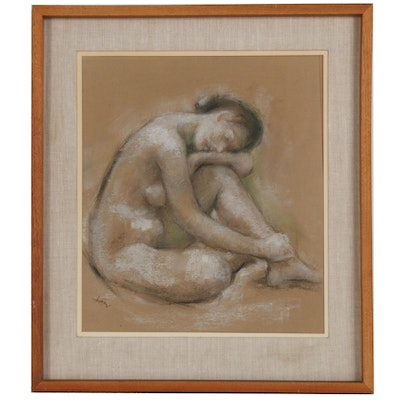 Pastel and Charcoal Figure Study, Mid to Late 20th Century