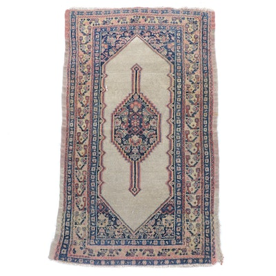 1'11 x 3'5 Hand-Knotted Persian Senneh Wool Rug, 1890-1900s
