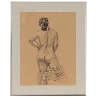 Charcoal Figure Study of Female Nude, Mid to Late 20th Century