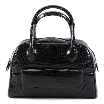 Eileen Kramer Black Alligator Skin Doctor Style Handbag