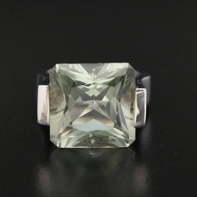 Sterling Silver Prasiolite and Diamond Ring