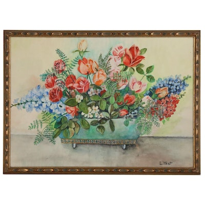 Floral Still Life Watercolor Painting, 20th Century