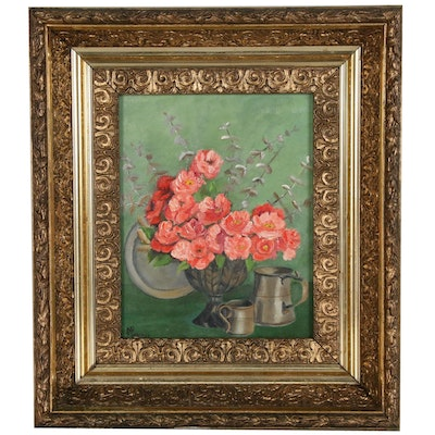 Floral Still Life Oil Painting Signed Mary Rose Lindeman