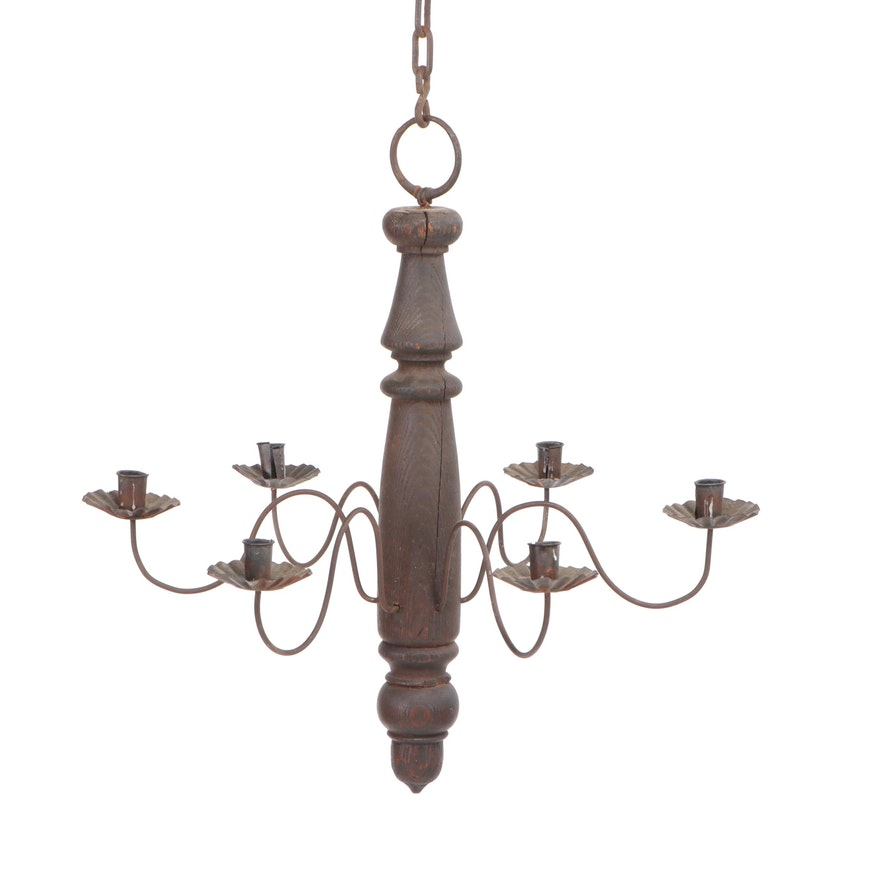 Carved Wood and Cast Metal Six-Arm Candle Chandelier, Mid to Late 20th Century