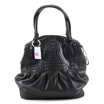 Eileen Black Hornback Crocodile Skin and Grained Leather Shoulder Bag