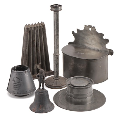 Richard King Pewter Salt Box with Other Metal Décor