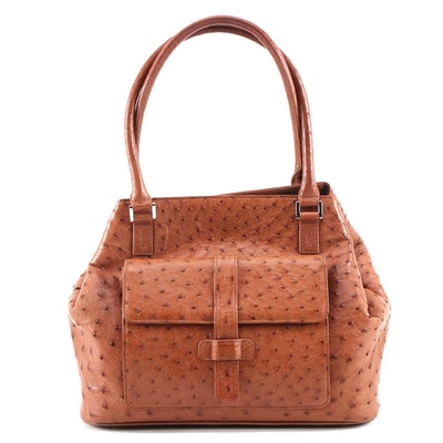 Eileen Kramer Ostrich Skin Leather Shoulder Bag in Cognac