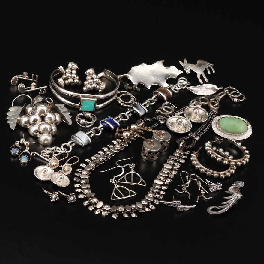 Jewelry Selection Including Sterling Silver, Calcite and Turquoise