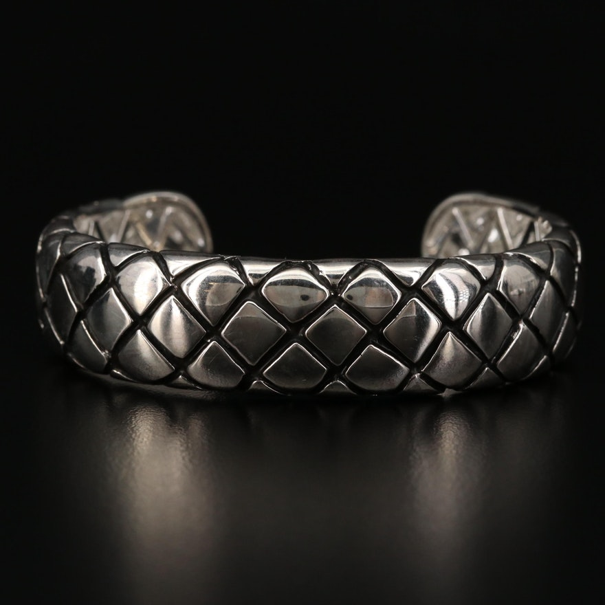 Sterling Silver Patterned Cuff Bracelet
