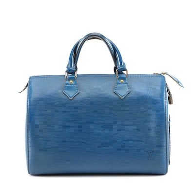 Louis Vuitton Speedy 30 Bag in Toledo Blue Epi Leather