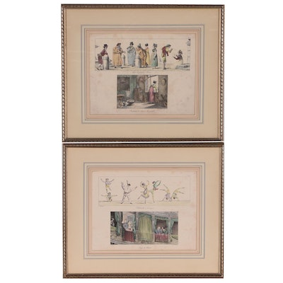 Pair of F. Villain Hand Colored Lithographs After A.J.B Thomas, 19th Century