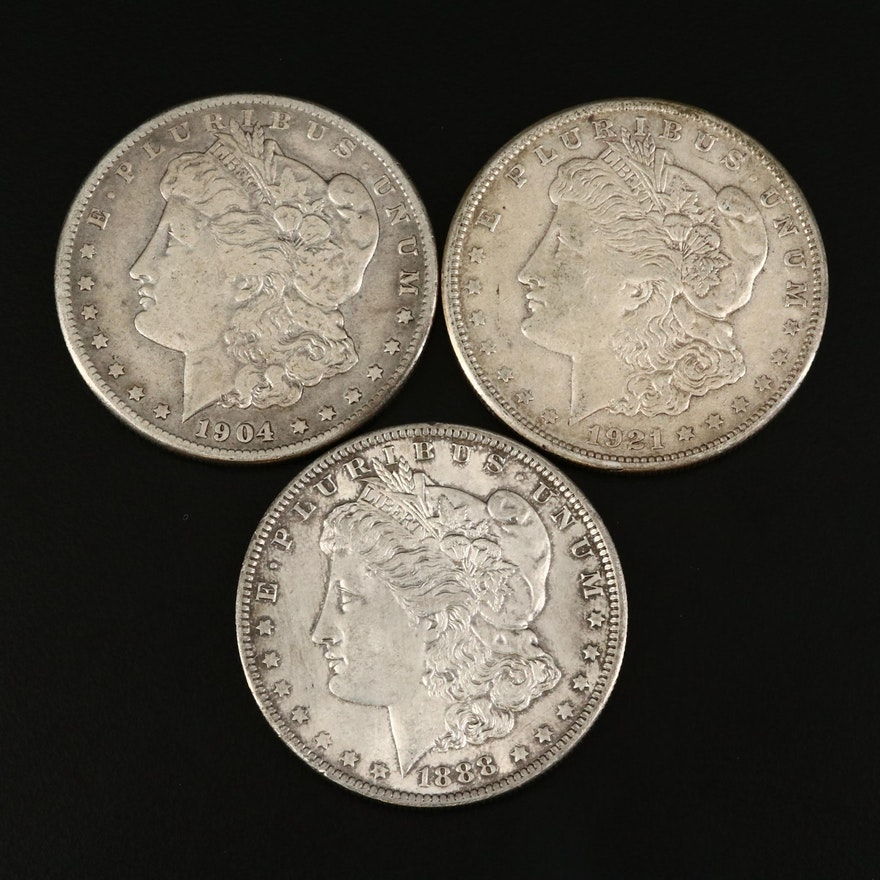 Three Morgan Silver Dollars Including Better Date 1904-S