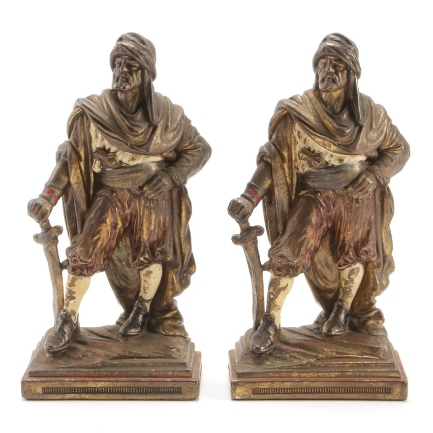 Barbary Pirate Figural Bookends in Gilt and Enamel Painted Metal