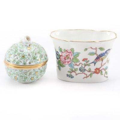 Herend Pierced Porcelain Trinket Box with Royal Aynsley Decorative Bowl