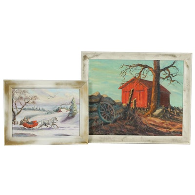 John Kurowski Rural Landscape Oil Paintings, Mid to Late 20th Century