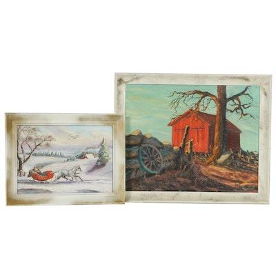 John Kurowski Rural Landscape Oil Paintings, Mid to Late 20th Century