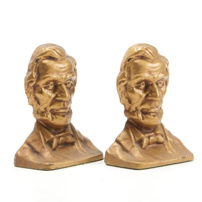 Abraham Lincoln Form Cast Iron Bookends