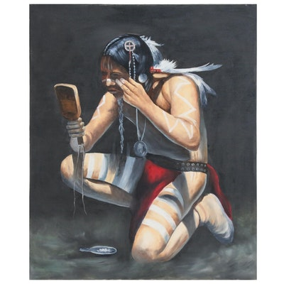 Oil Painting of Native American Brave Painting His Face