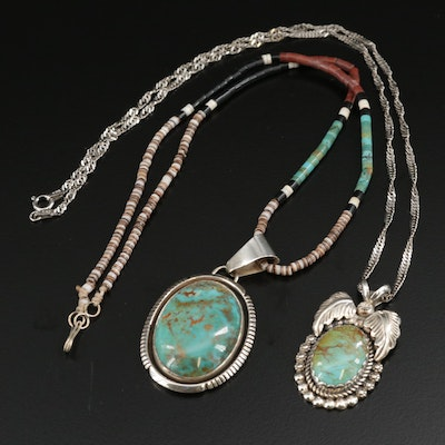 Southwestern Style  Sterling Silver Turquoise and Shell Necklaces