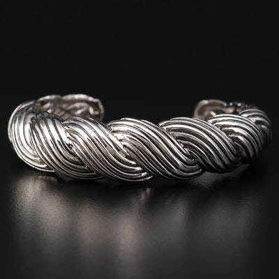 Sterling Silver Cuff Bracelet Featuring Twisting Design
