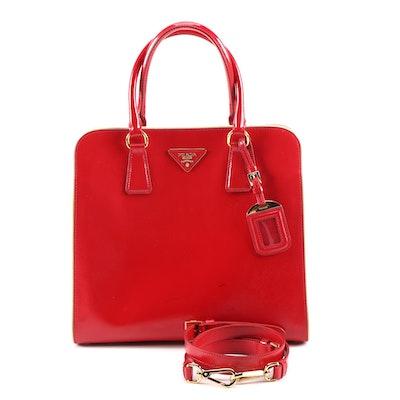 Prada Red Glazed Saffiano Leather Handbag with White Piping Trim