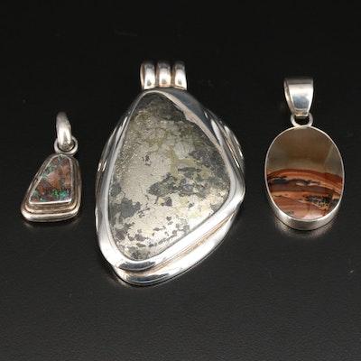 Sterling Silver Pyrite, Picture Jasper and Matrix Opal Pendants Including Barse