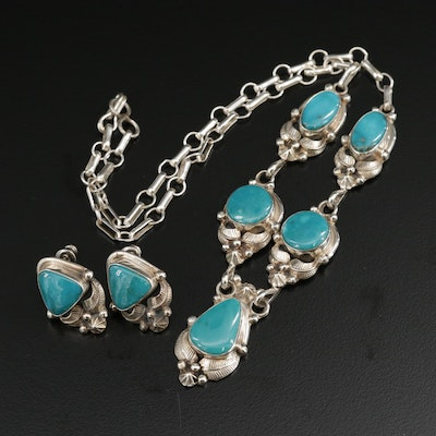 Roie Jaque Navajo Diné Sterling Silver Turquoise Earrings and Necklace Set
