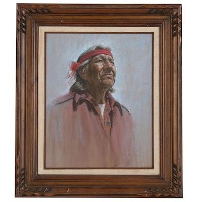 Portrait Pastel Drawing of Native American Elder