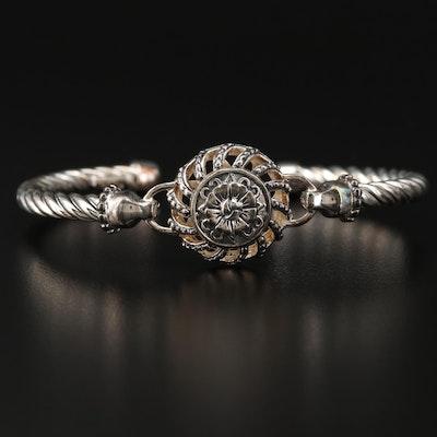 Sterling Silver Floral Cuff Bracelet