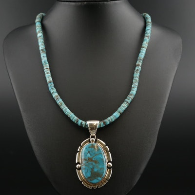 Larry Kaye Navajo Diné Sterling Silver Turquoise Pendant on Beaded Necklace