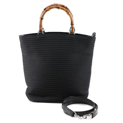 Gucci Bamboo Handle Tote in Black Stitched Canvas and Glazed Leather Trim
