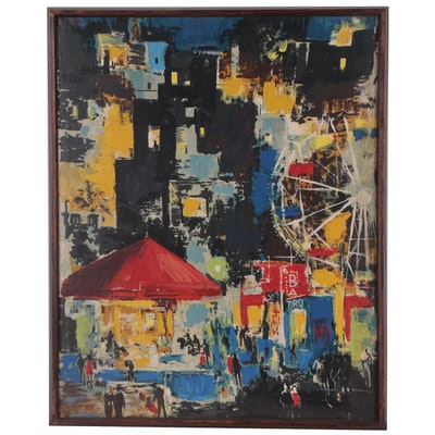 Abstract Oil Painting of Carnival and City Skyline