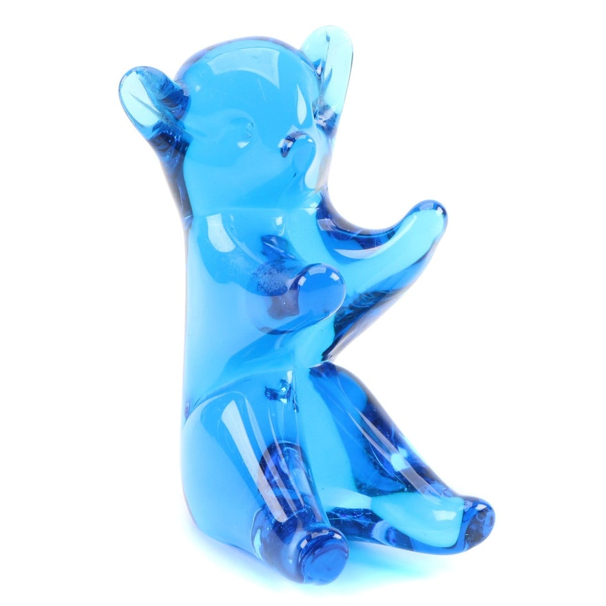 Cobalt Blue Art Glass Teddy Bear Figurine