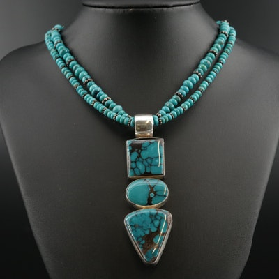 Southwestern Style Sterling Silver Beaded Turquoise Necklace and Pendant