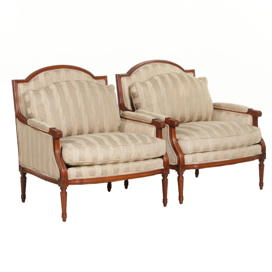 Pair of Louis XVI Style Upholstered Armchairs, Pair, Late 20th Century