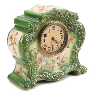 Gilbert No. 411 American Hand-Painted Porcelain Mantel Clock, 1904