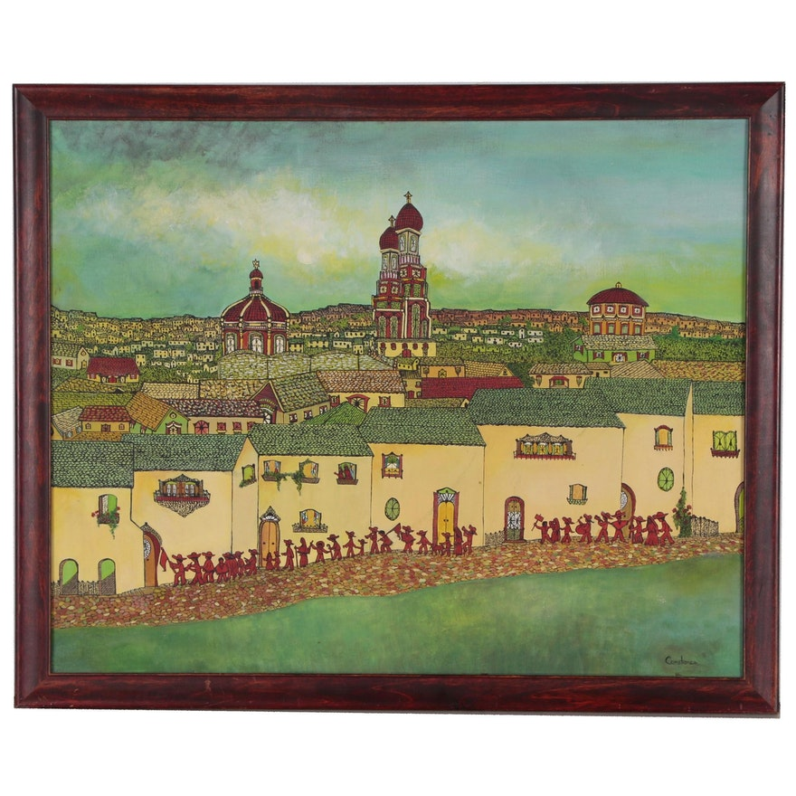 Folk Art Painting of Cityscape with Parade