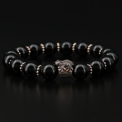 Sterling Silver Beaded Black Onyx Bracelet with Frog Accent