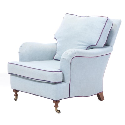 Linen Upholstered Club Chair, Late 20th Century